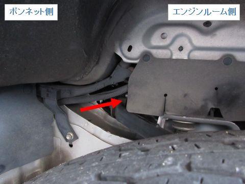 HIDとバッテリーの配線(タイヤハウス内)