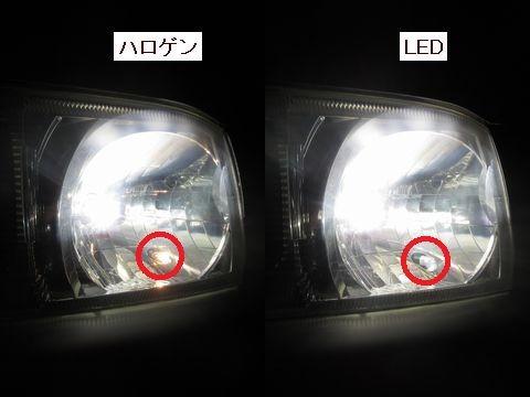 ポジションランプ点灯の様子(ノーマルバルブとLEDバルブの比較)